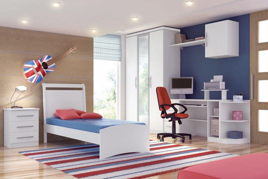Quarto de Solteiro Dormitórios Modulados ~ Quarto Solteiro Com Tv